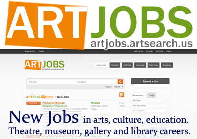 New Jobs in arts, culture, education. Theatre, museum, gallery, library careers