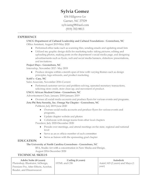 Design Resume - ART JOBS
